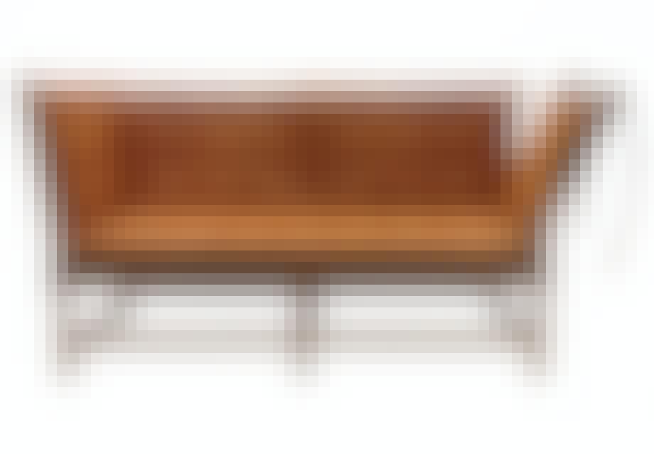 Tremmesofa af Børge Mogensen ombetrukket i brunt læder