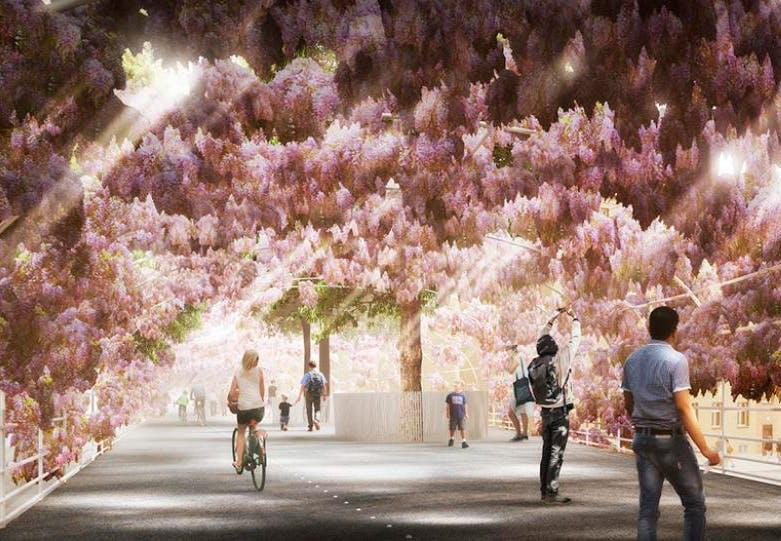 Trejde Naturs forslag til en bro over Sydhavnsgade i København