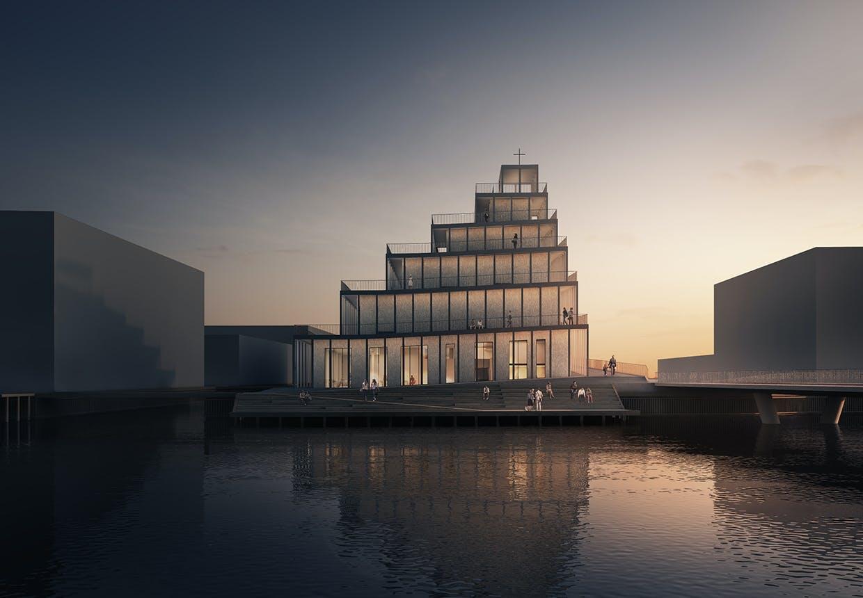 Sydhavnens nye kirke ved aftentide