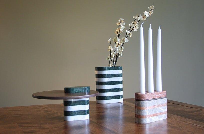 Marmor højtalere som også lysestager, vaser og serveringsplader