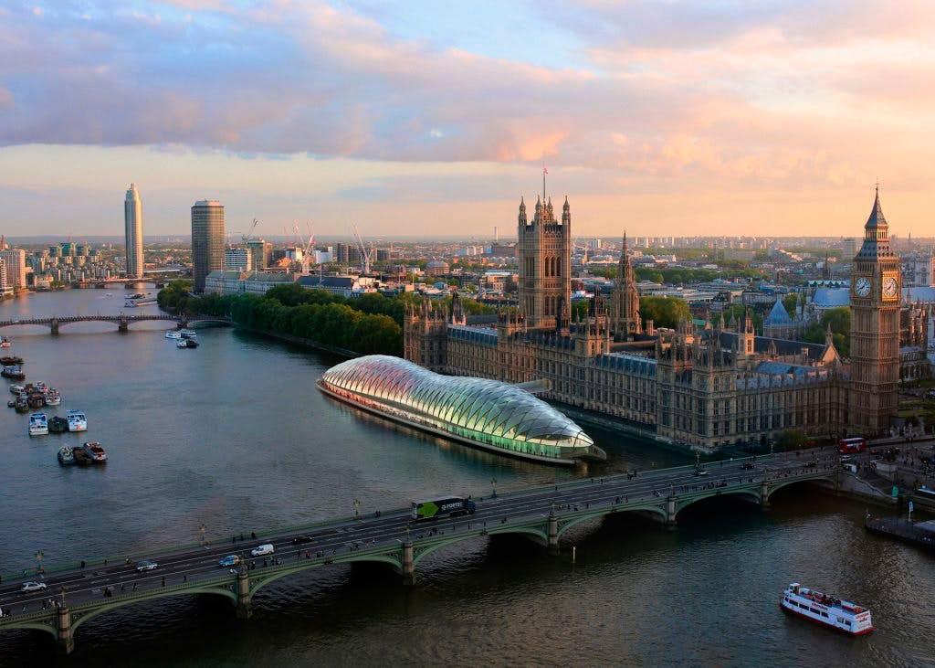 Arkitekterne Genslers forslag til et midlertidigt Westminster Palace