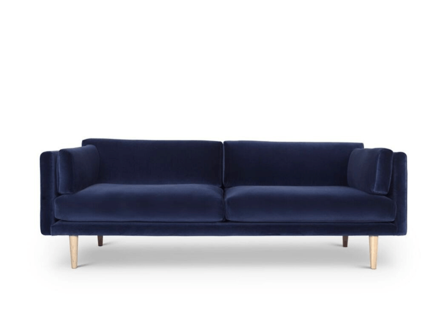 Mørkeblå velour sofa af Sigurd Larsen