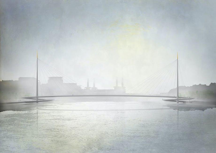 Bystrups tegning til Nine Elms Pimlico Bridge