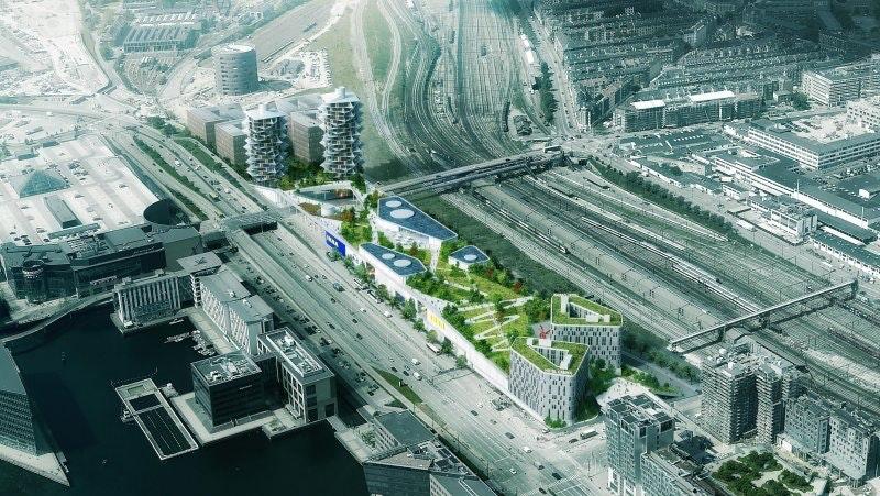 Ikea ved Fisketorvet tegnet af Dorte Mandrup arkitekter med kaktus-højhuse af BIG.