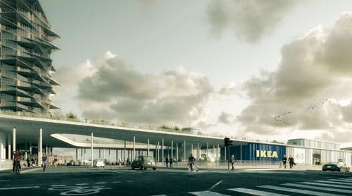 Big Kaktushøjhus forbundet med Dorte Mandrups Ikea-bygning