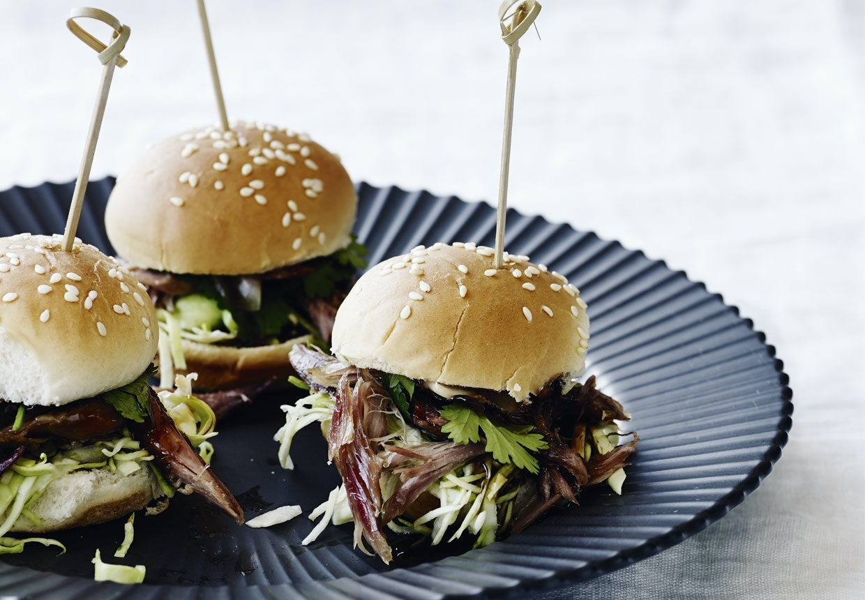 sliders and pulled duck hoisin asiatisk burger miniburger