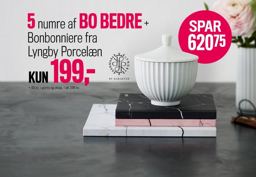 5 NUMRE AF BO BEDRE + BONBONNIERE FRA LYNGBY PORCELÆN