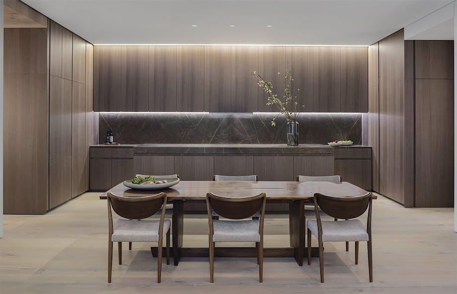 boliger lejlighed new york køkken træ spisebord