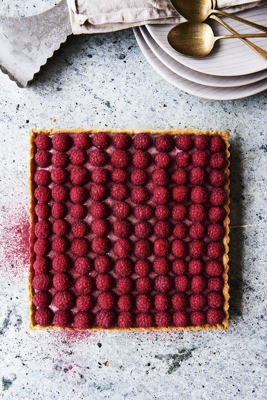 tærte kage hindbær sommer frisk frugt