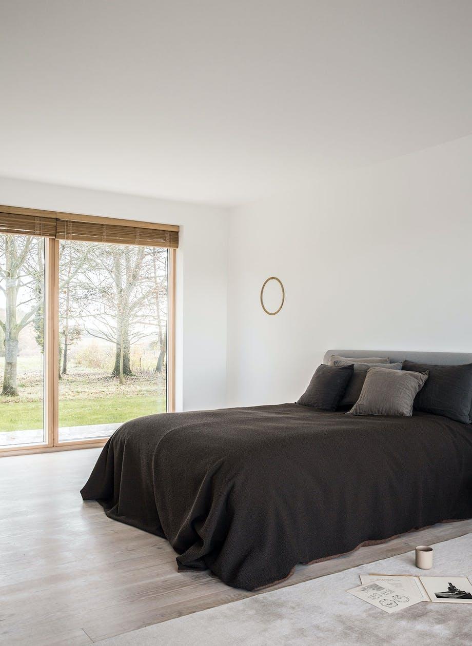 soveværelse minimalistisk udsigt sengetæppe