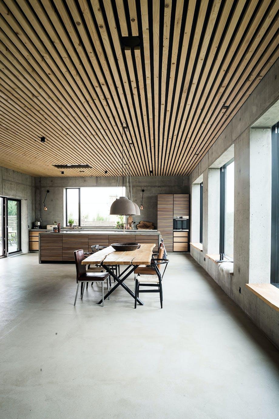 køkken alrum spisebord spisestue beton træ