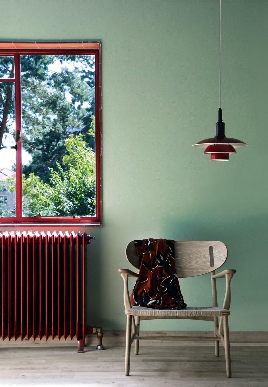 Gæsteværelse med grønne vægge