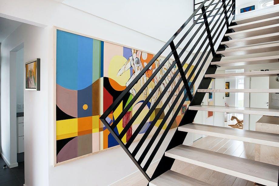 trappe stue hus hjem maleri