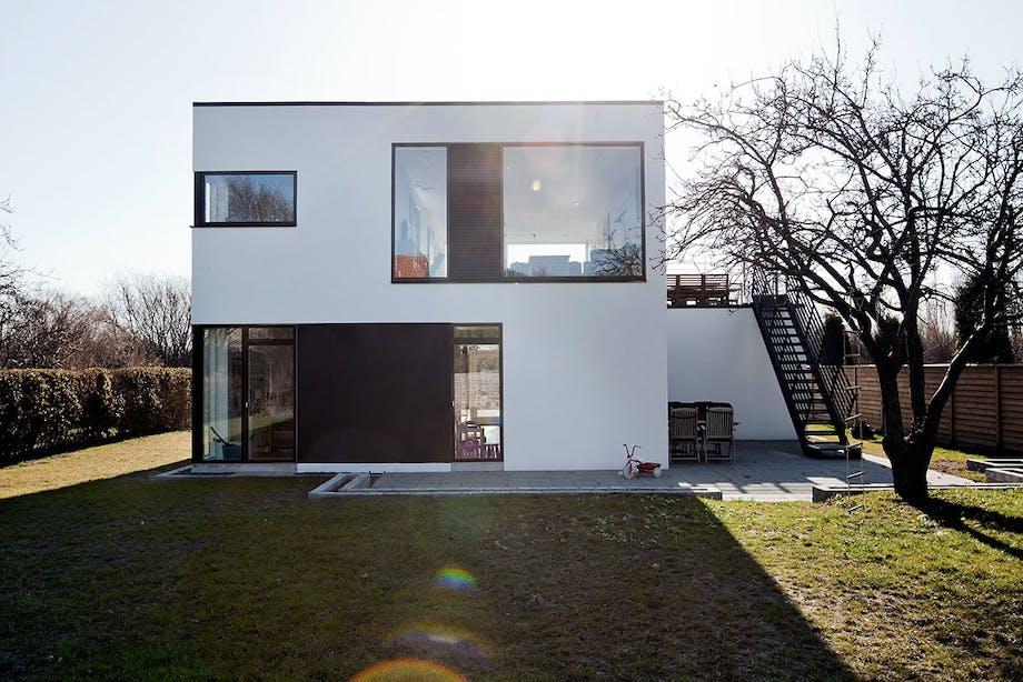 hus vinduer have græsplæne træ