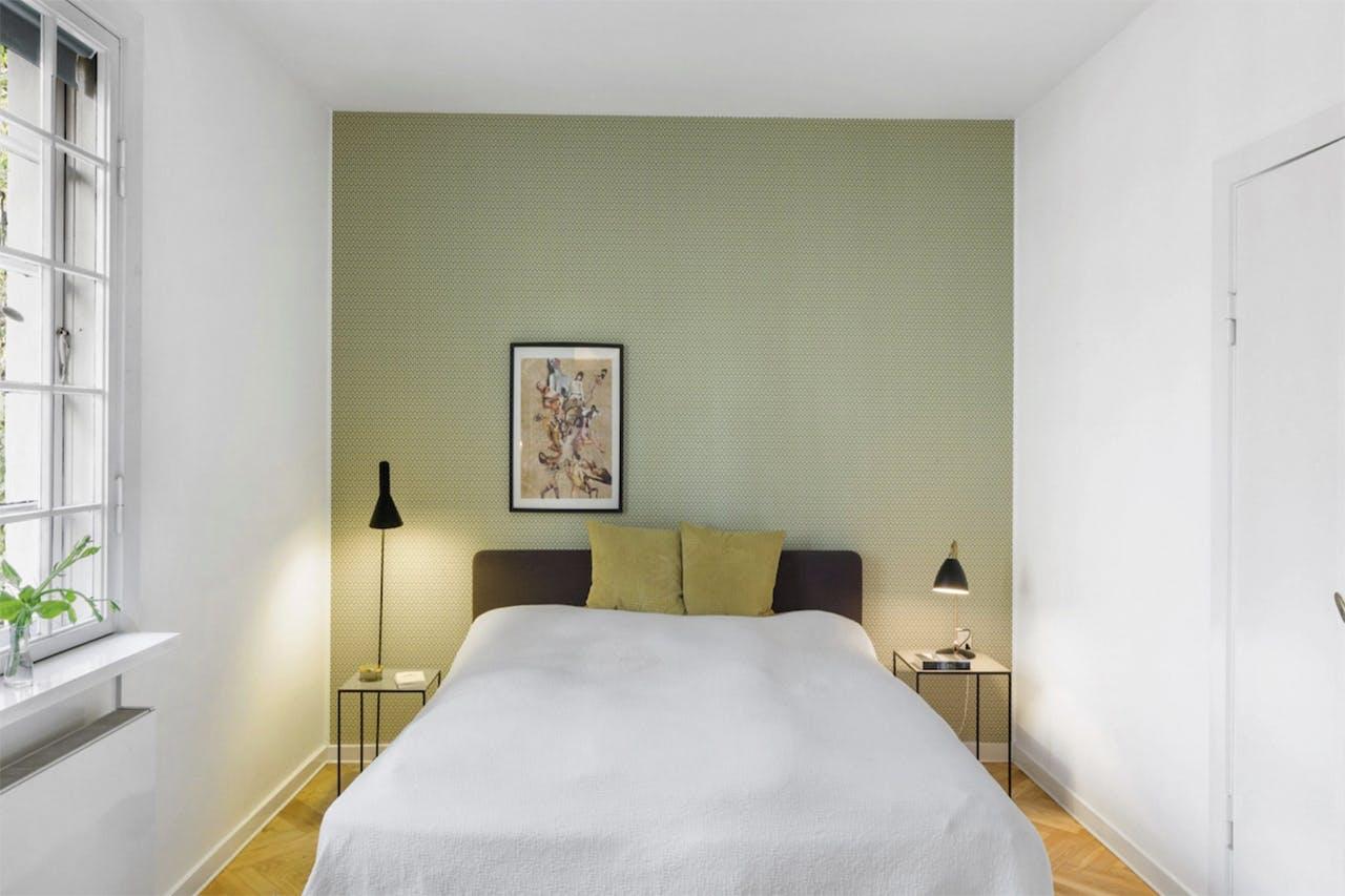 vægfarve grøn væg soveværelse aarstiderne