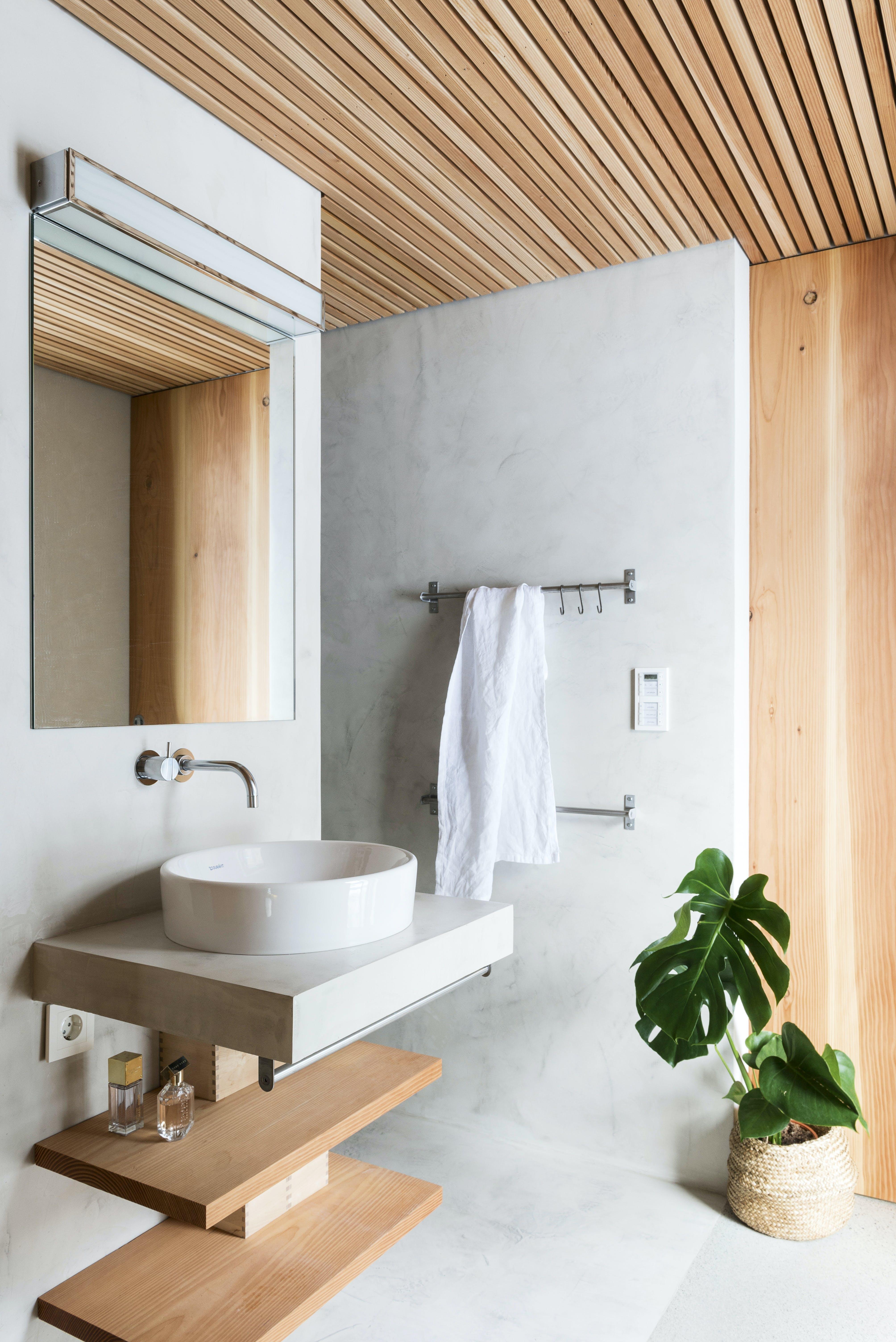 badeværelse håndvask træ