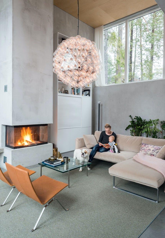 bolig indretning sverige natur pejs