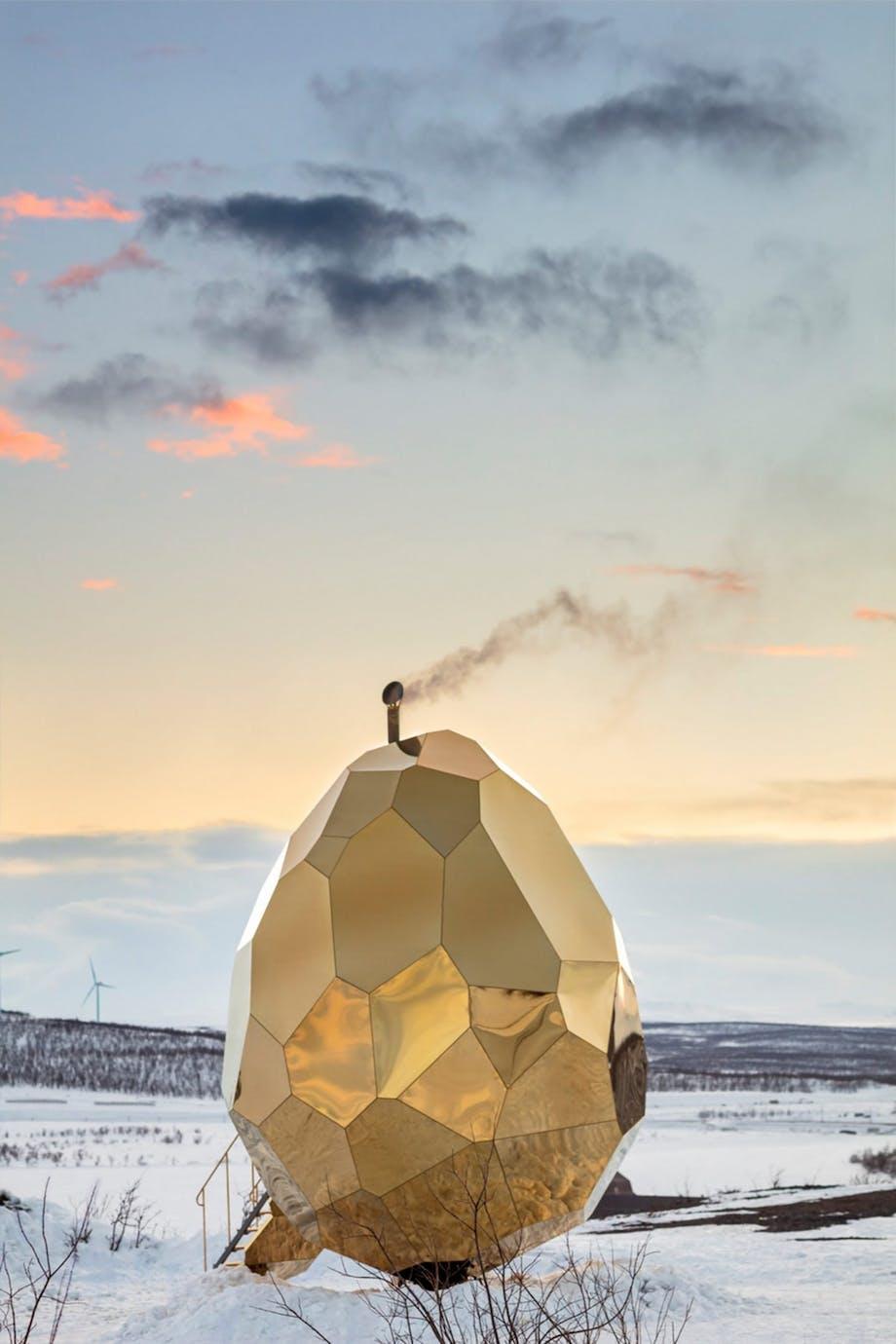 sauna kunst arkitektur guld sverige udsigt