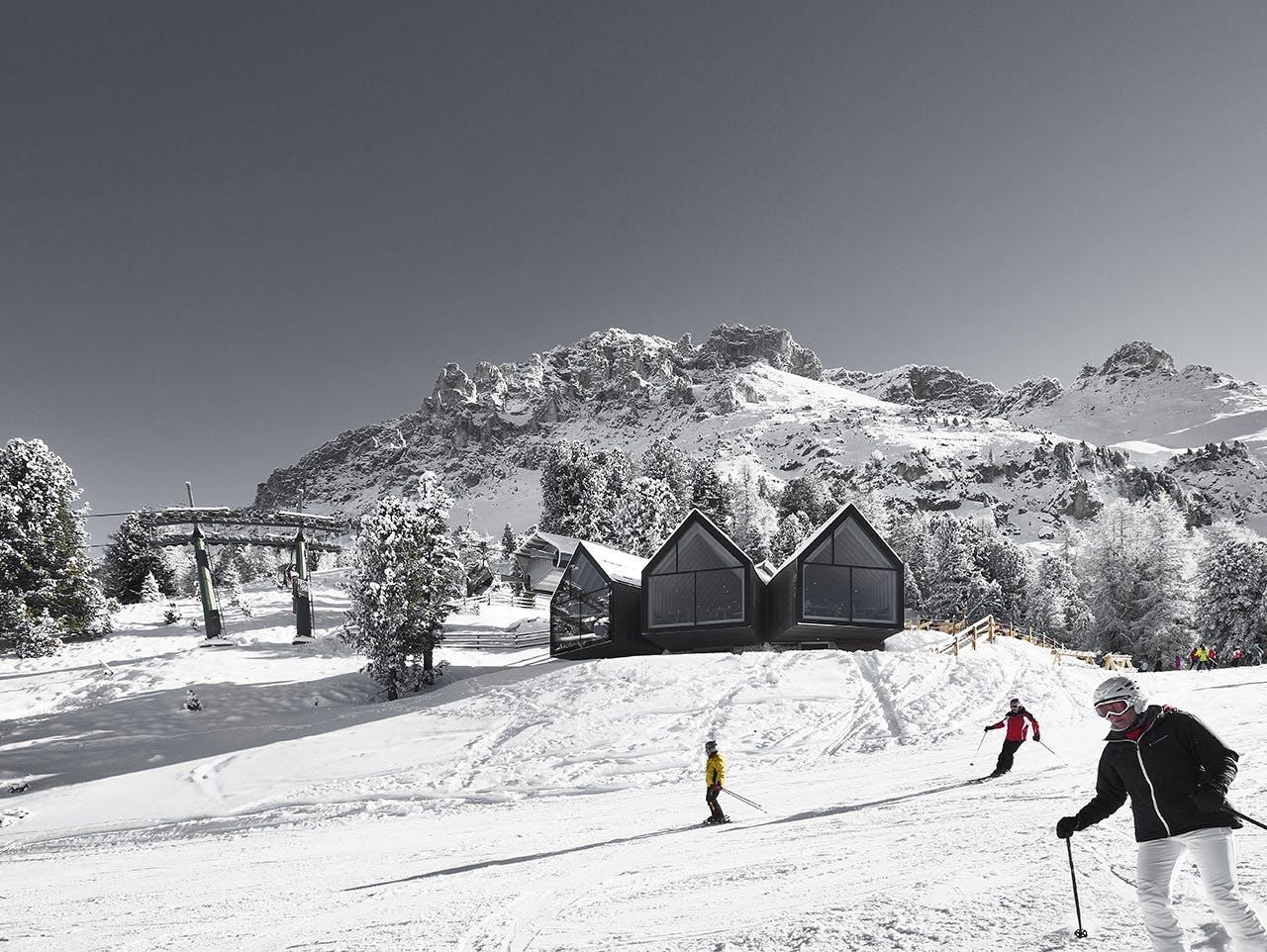 ski skiferie skirejse alperne alpin skiløb skihytte Italien skiløbere