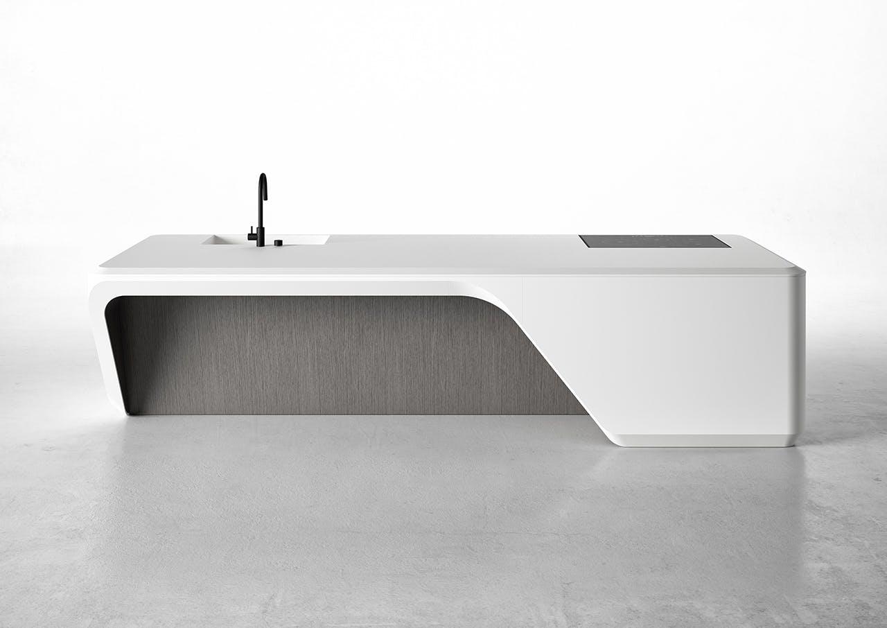 Boffi køkkenø i hvid med kurvede linjer
