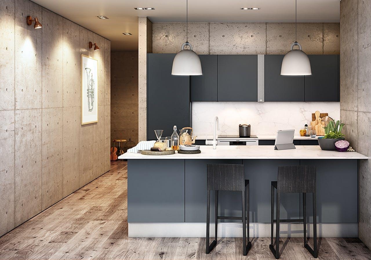 HTH køkken i mørkegrå med indbyggede højtalere