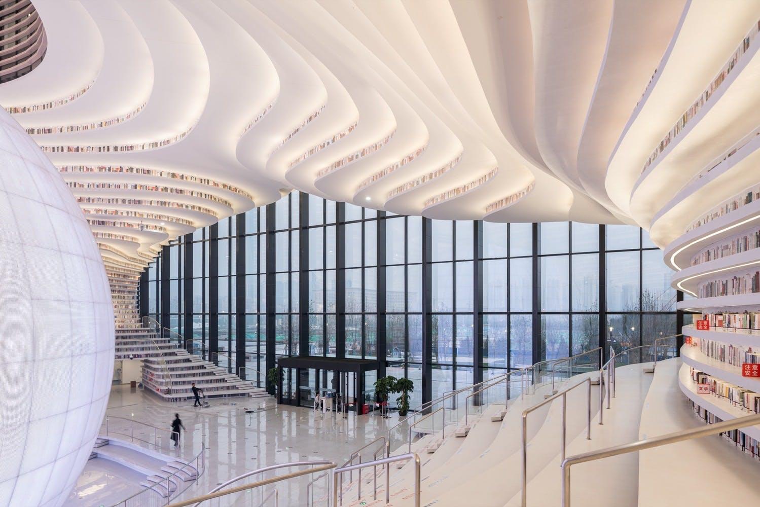 bibliotek kina arkitektur struktur bøger design udsigt glasvinduer