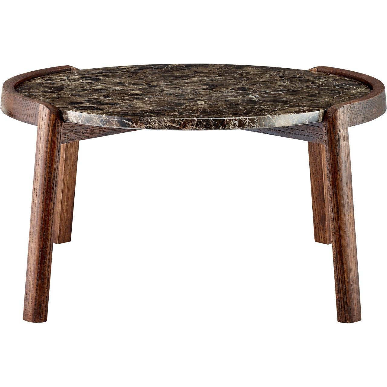 Bolia sofabord i røget eg og brun marmor