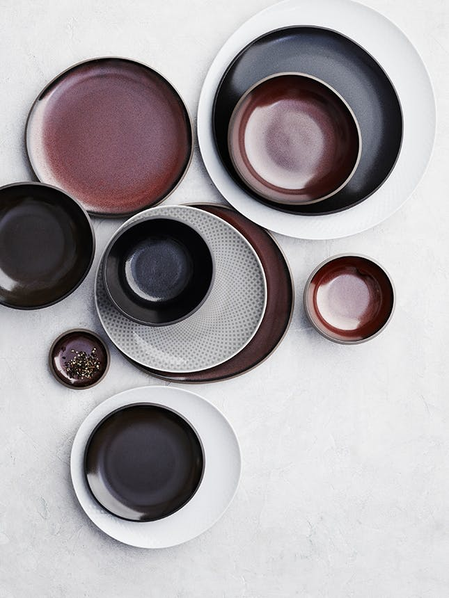 Rosenthal tallerkener i rød sort og hvid