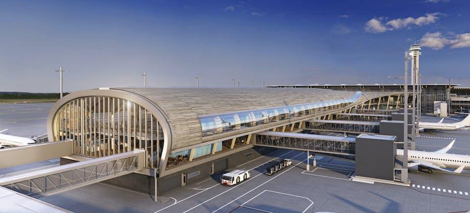 design arkitektur oslo lufthavn udvidelse solenergi