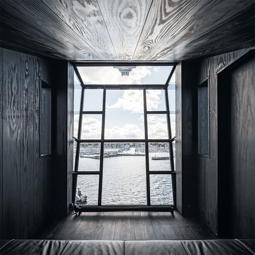The Krane soveværelse med stort vinduesparti