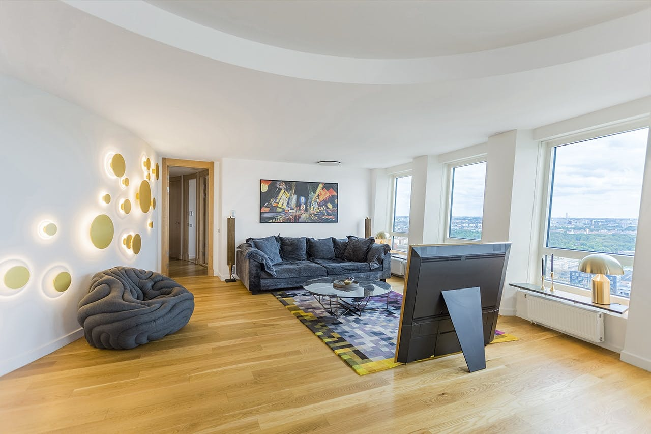 lejlighed indretning eksklusivt stue sofa tv