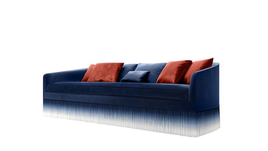 MØLLER & ROTHE armami sofa i blå med røde puder