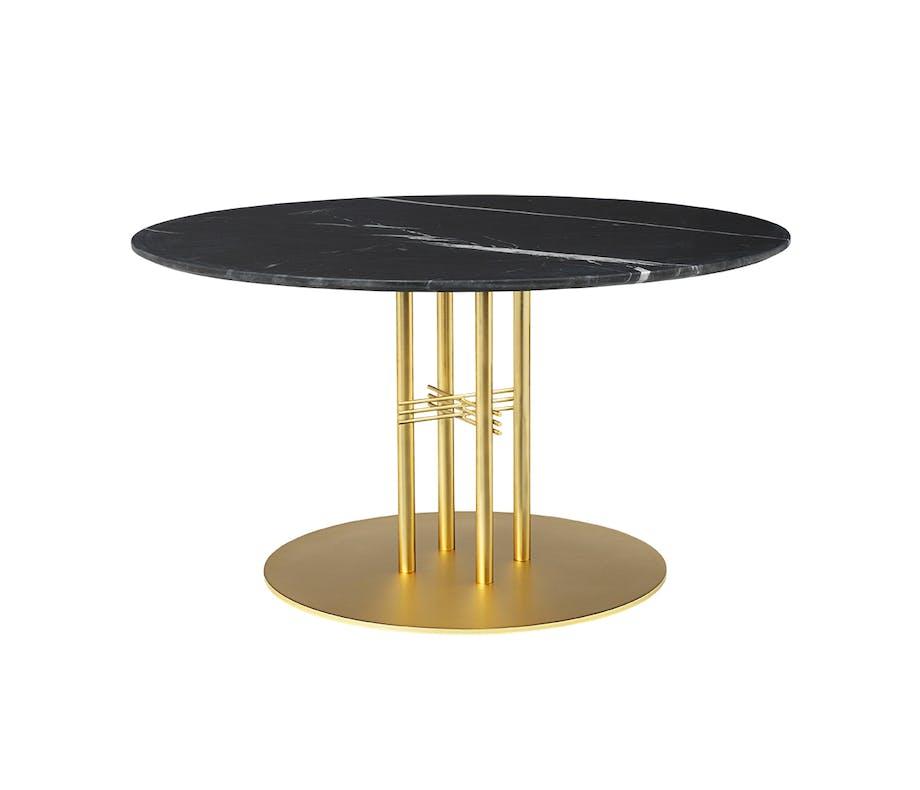 Gubi spisebord i sort marmor og gyldent metal