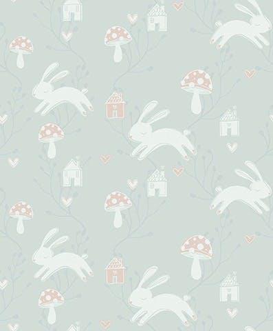 Little World 561229 grønt tapet med kaniner fra flügger