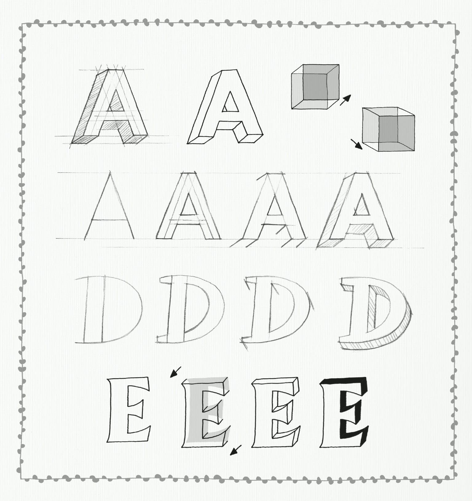 Hand lettering håndskrift øvelser skitse