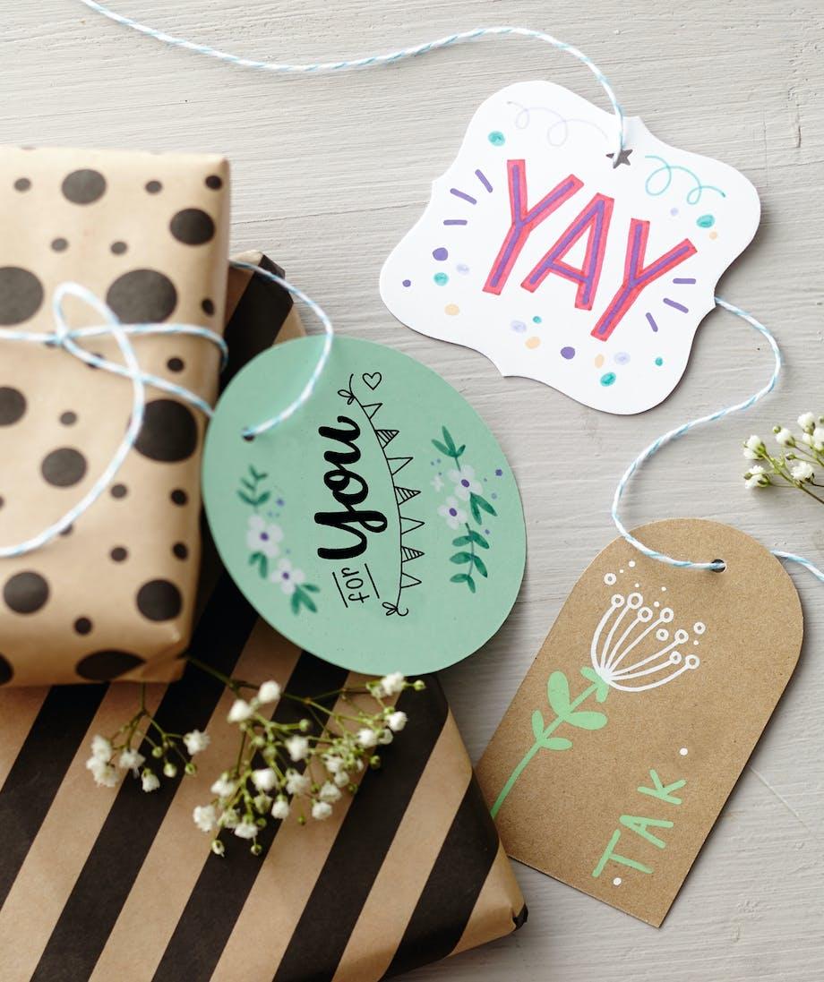 Hand lettering håndskrift øvelser gavekort