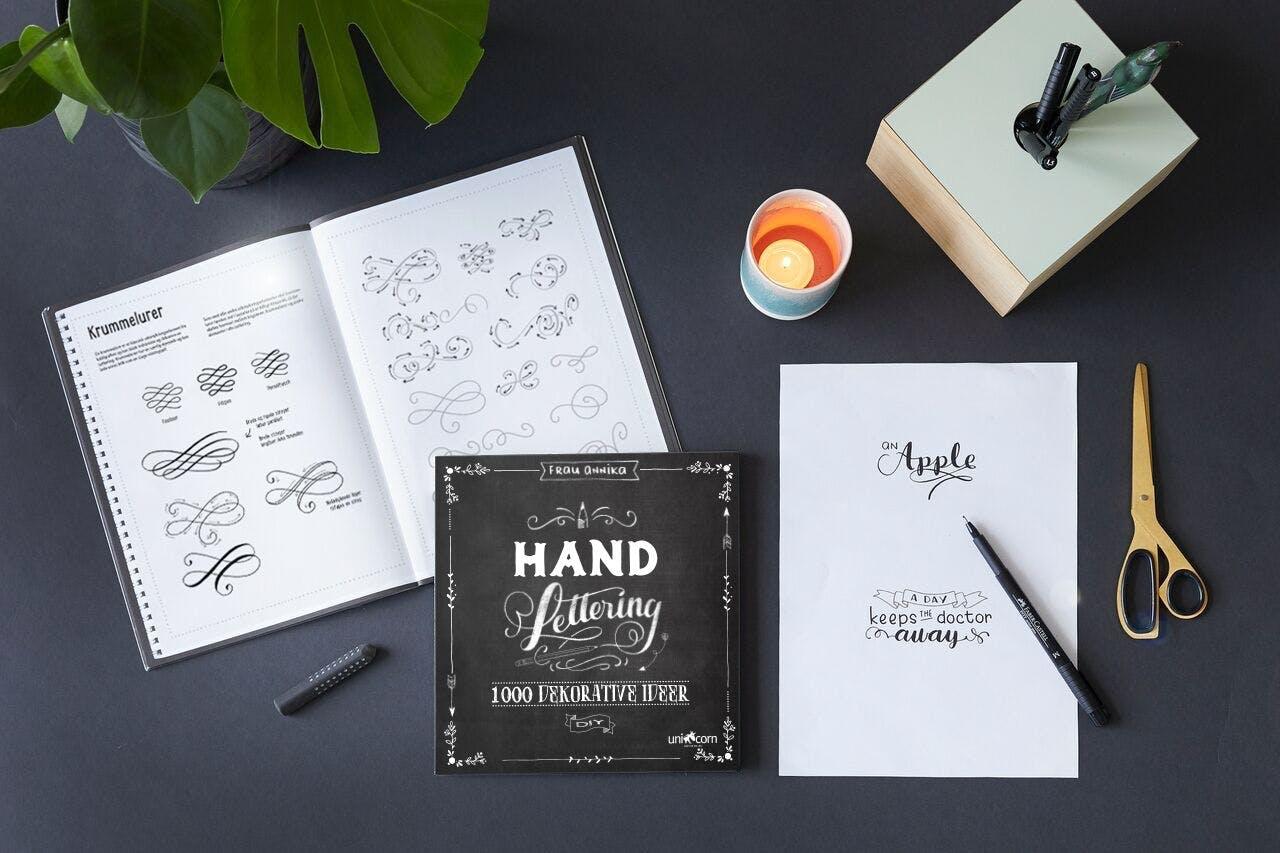 Hand lettering håndskrift øvelser bog