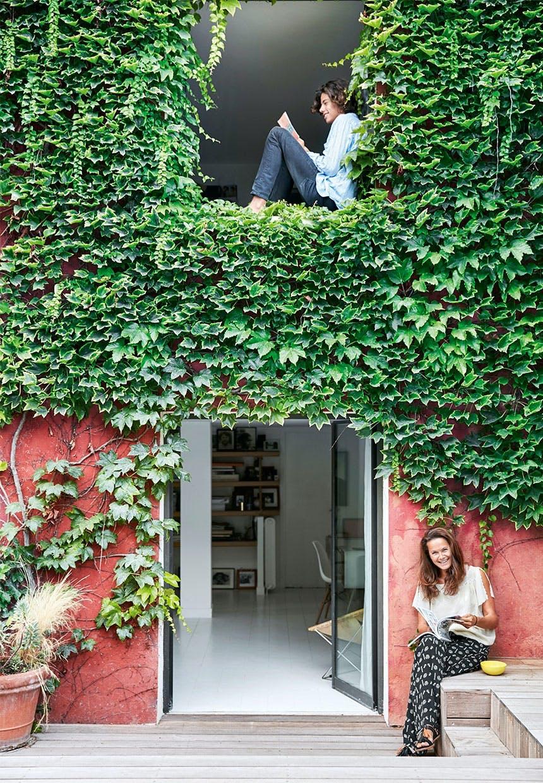 Vedbend på facaden og hygge på terrassen