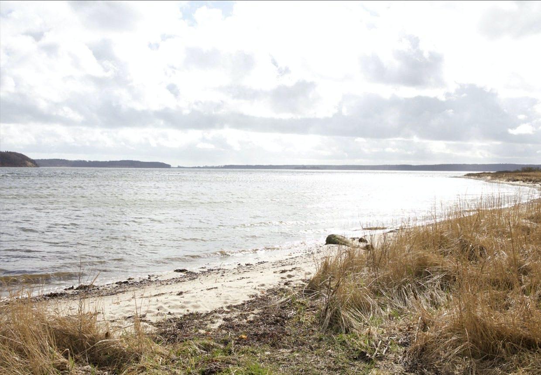 Udsigt over hav og strand og til Damgård, hovedhuset, hvor familien bor