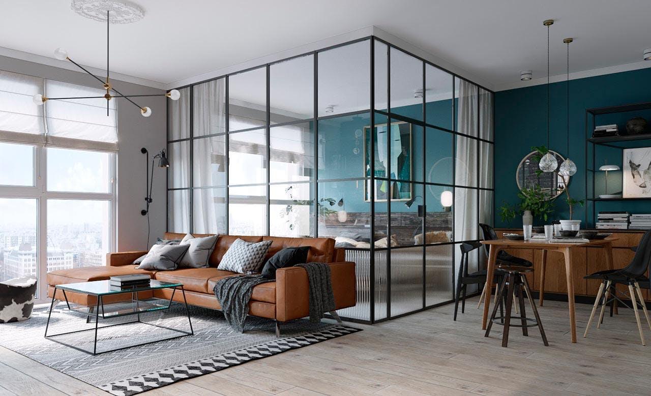 Lejligheden i Kiev indeholder et soveværelse i glas