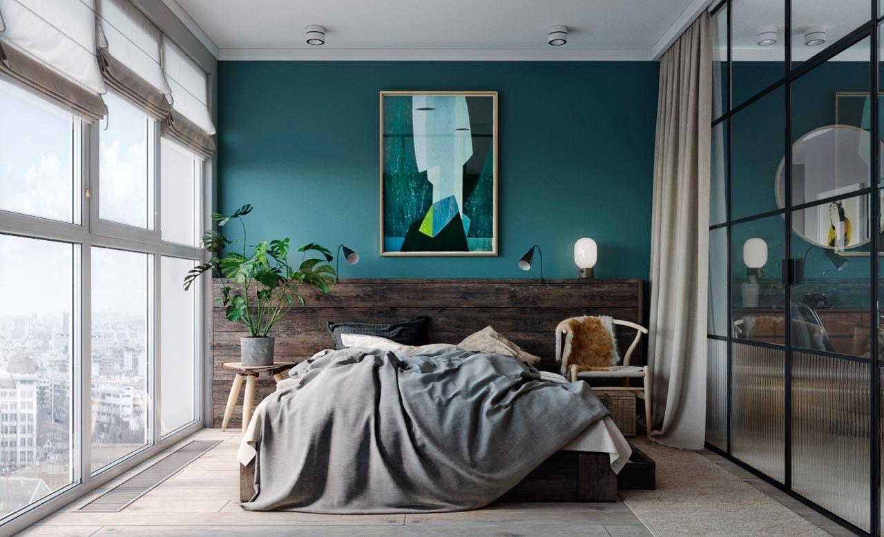 Soveværelse omgivet af glasvægge