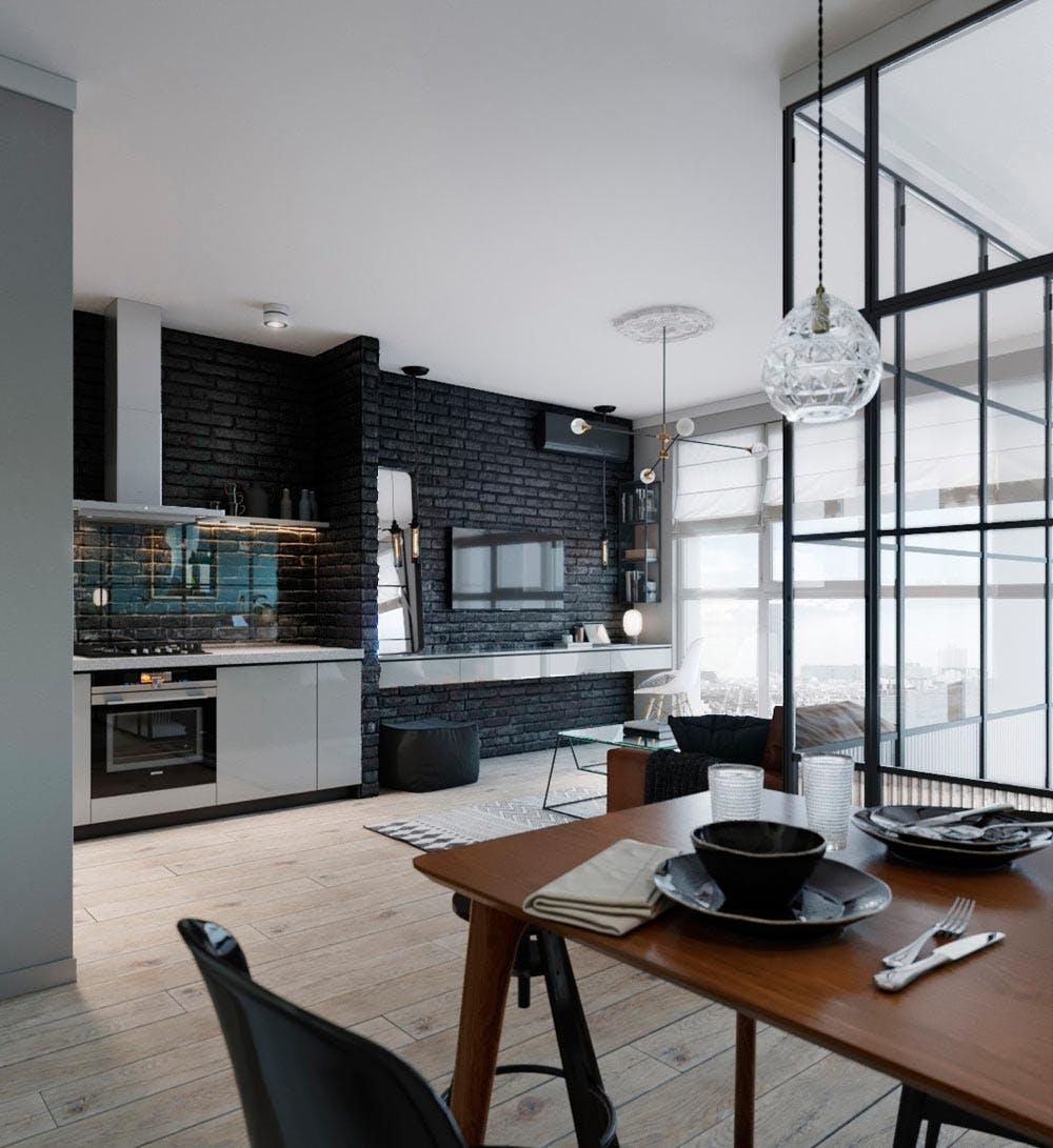 Køkken og stue med kontraster