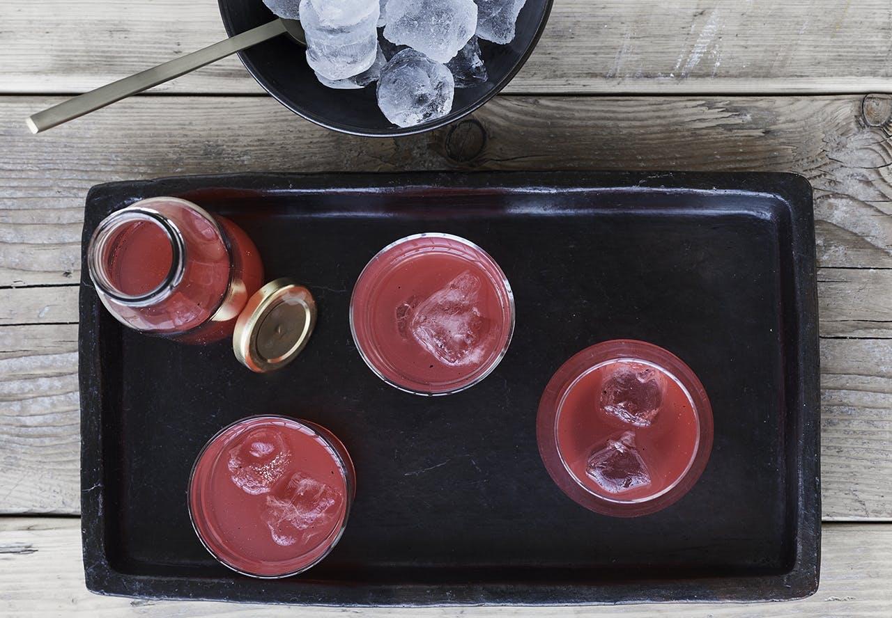 rabarber saft drink saftevand opskrift