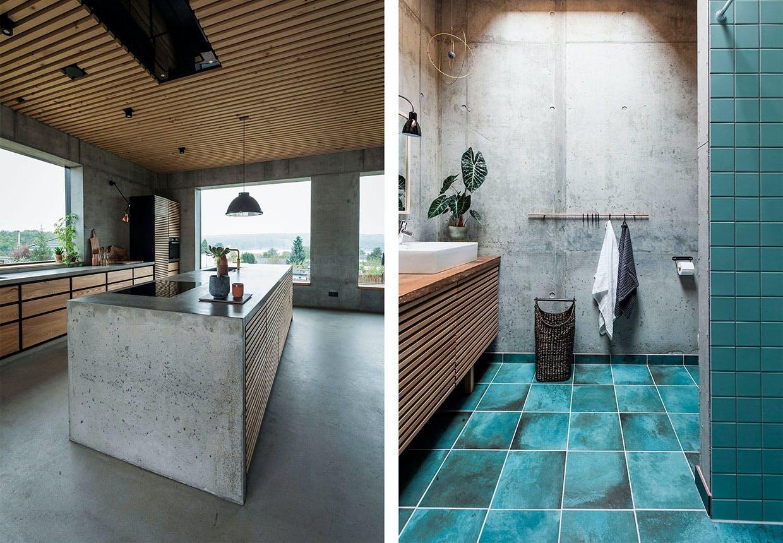 betonhus køkken træ badeværelse turkise klinker