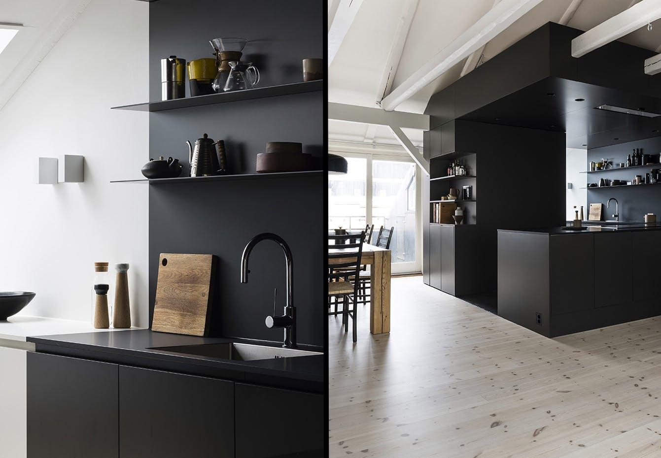 køkken indretning sort moderne nordisk stil