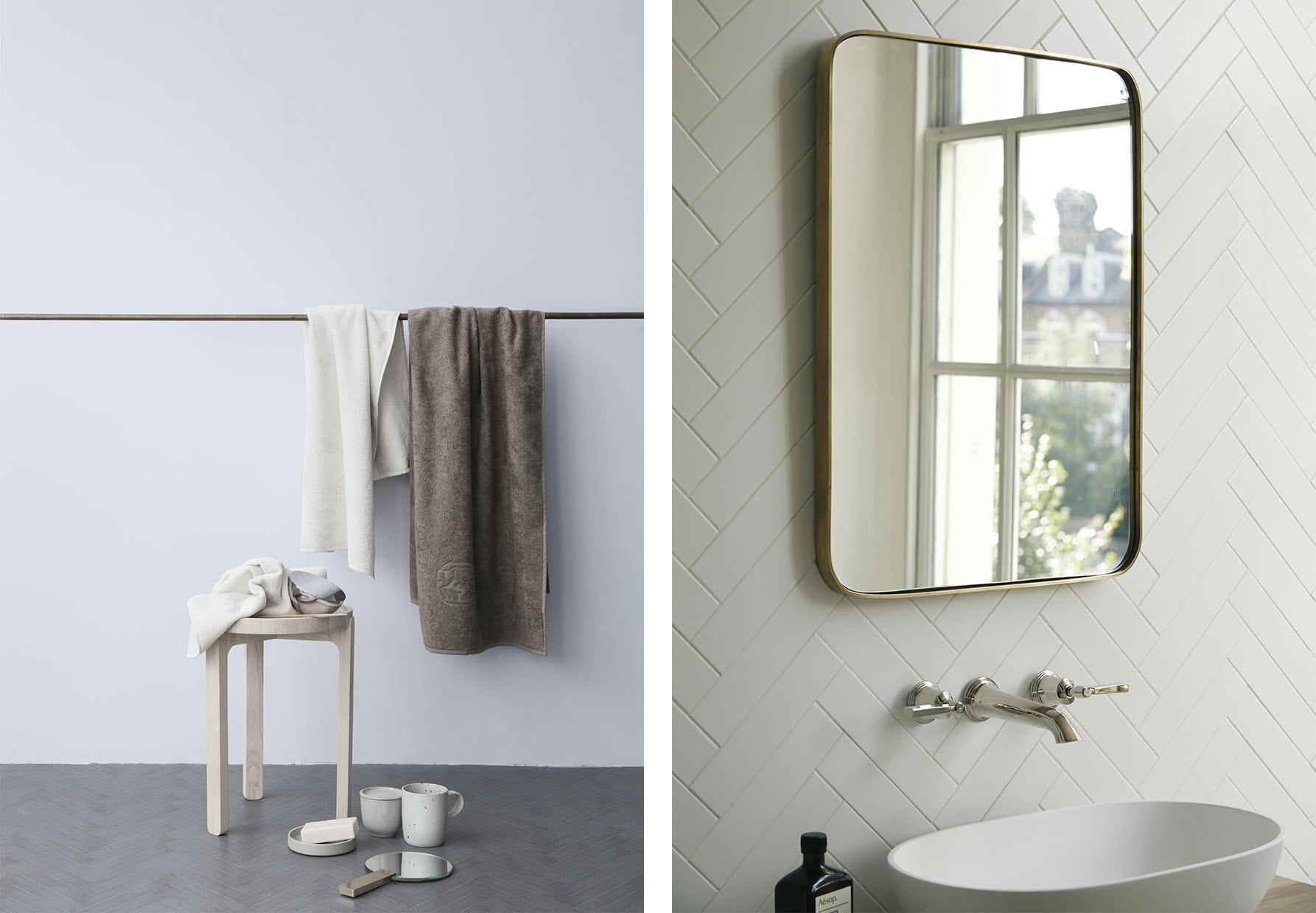 badeværelse håndklæde messingspejl håndvask