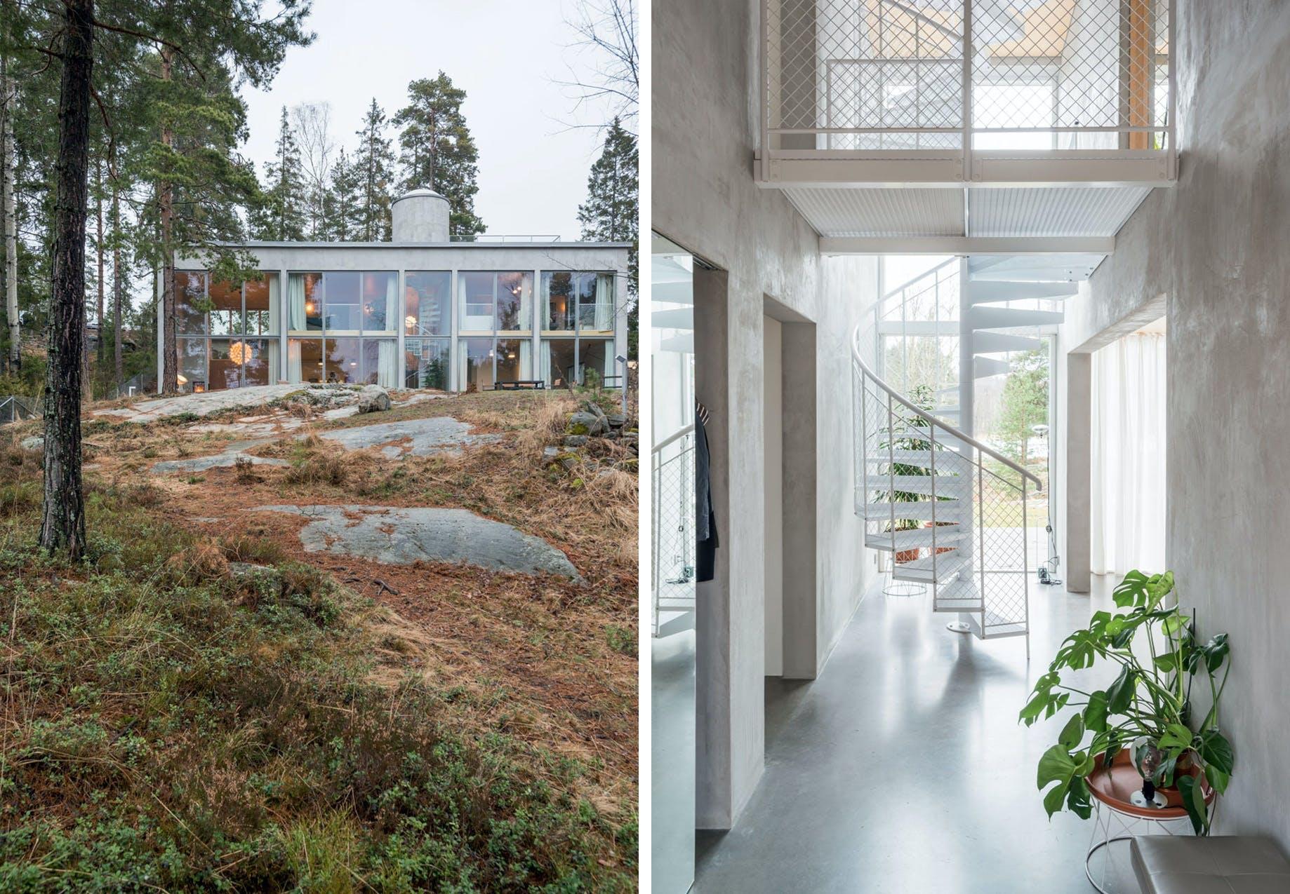 Fantastisk bolig i beton og glas i den svenske natur