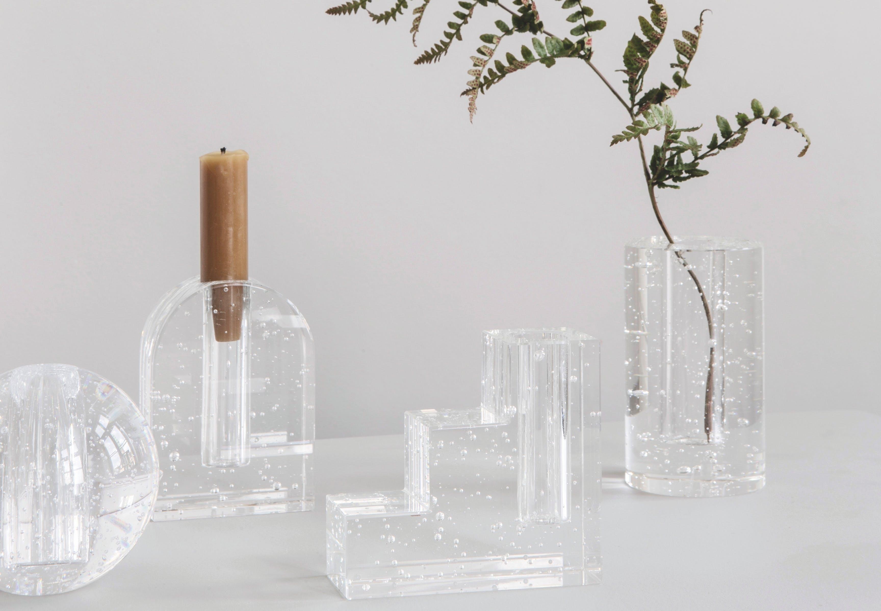 Ferm Living vaser og lysestager fra serien bubble glass object