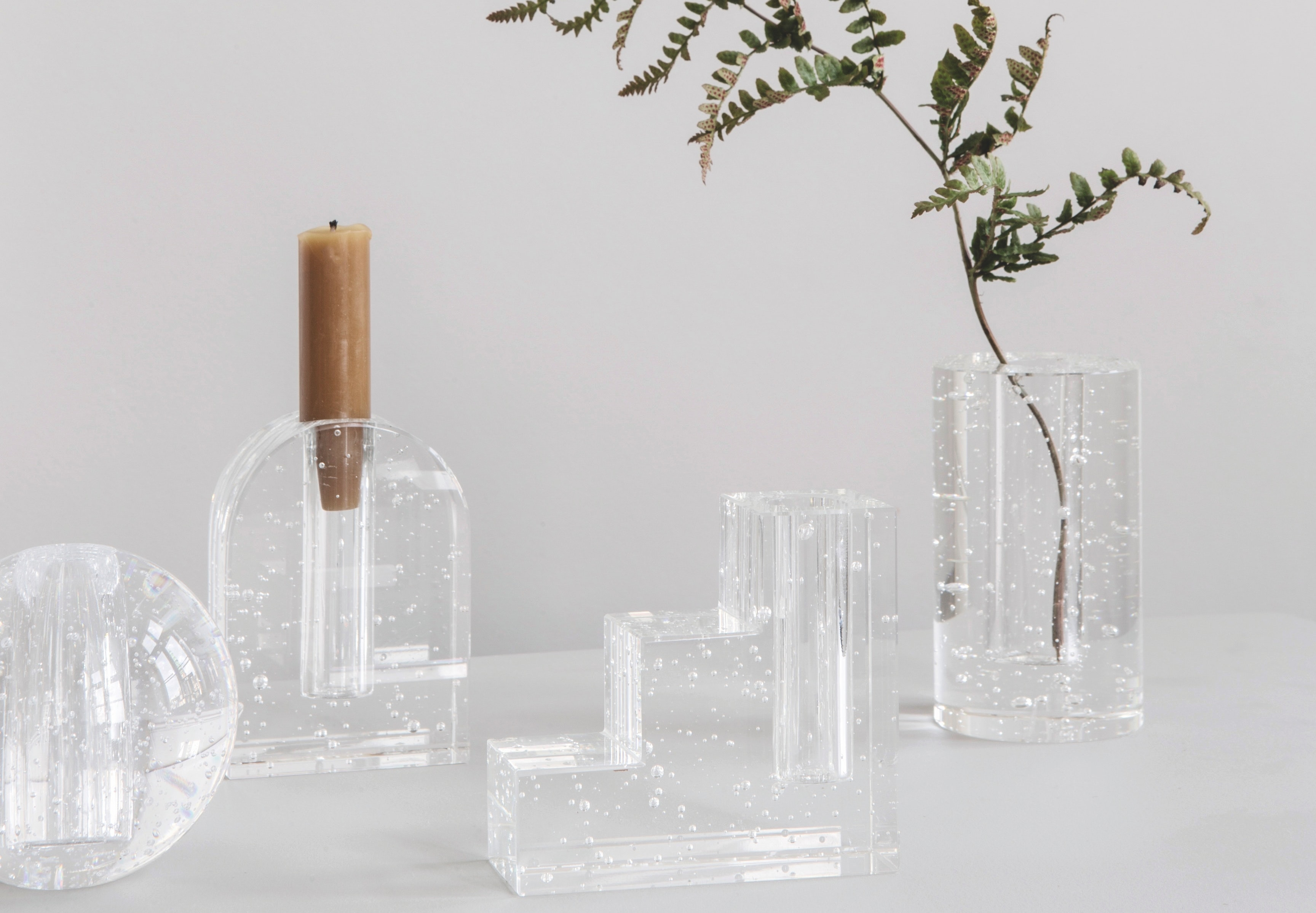 Ferm Living vaser og lysestager fra serien bubble glass object