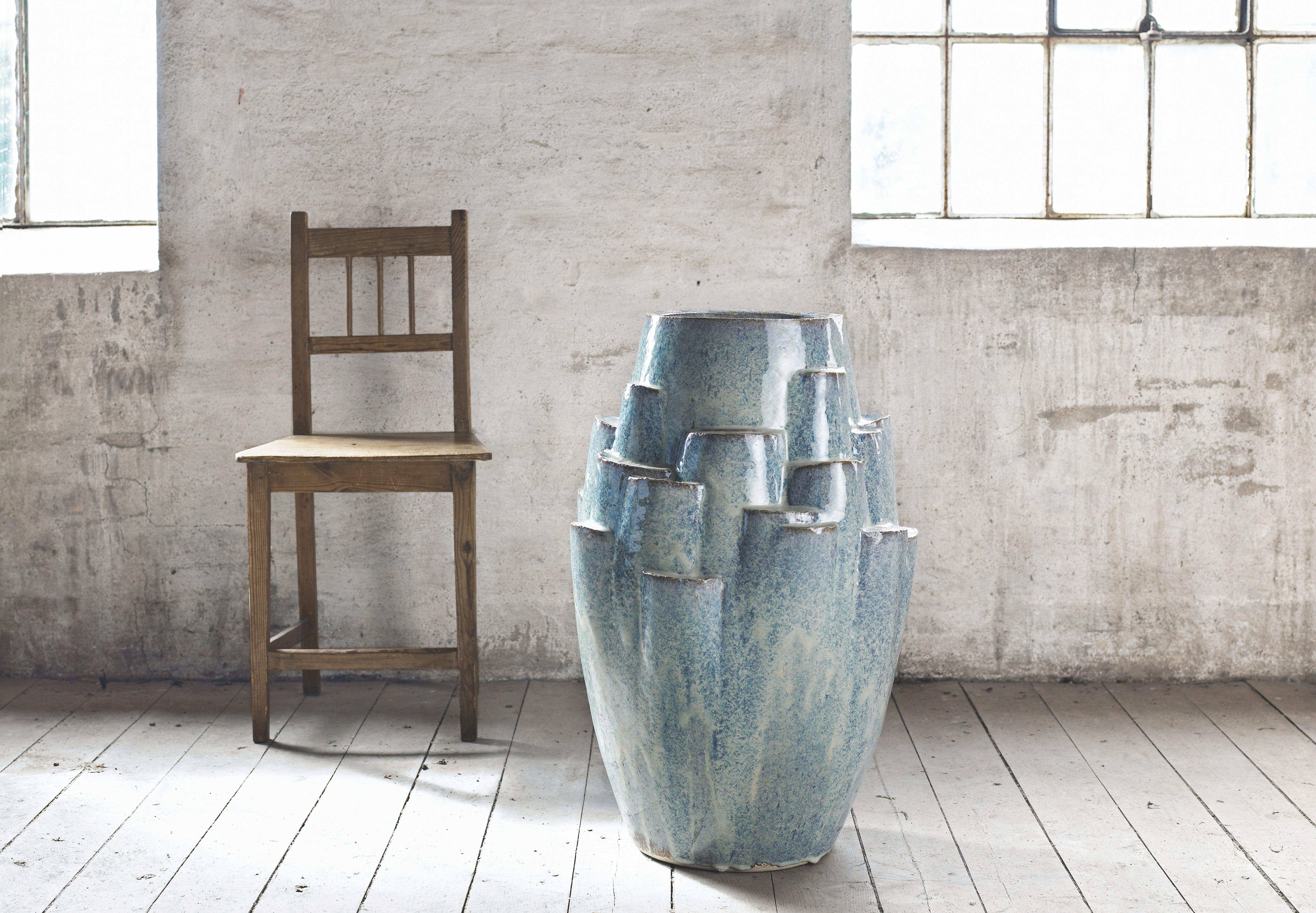 Knabstrup Keramik kæmpe gulvkrukke i blå